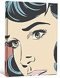 JP London LCNV2331 Pop Art Warhol Comic Book Girl 2'' Thick Heavyweight Stretched Canvas Art Mural, 46'' x 34''
