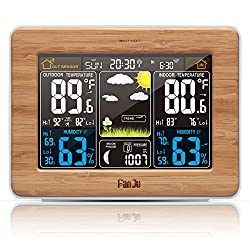 FanJu FJ3365 Wireless Weather Station Color Forecast with Alert | Temperature | Humidity | Barometer | Alarm | Moon phase | Atomic Clock with Outdoor Sensor (Wood)