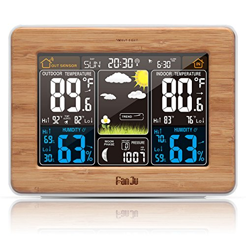 FanJu FJ3365W Wireless Weather Station Color Forecast with Alert | Temperature | Humidity | Barometer | Alarm | Moon phase | Weather Clock with Outdoor (Barometer Set)