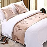 Bbshoping Cotton Bed Runner Luxurious Rich Tree Bed End Scarf for Bedroom Hotel Wedding Room-19x94 Inch (Light Yellow)