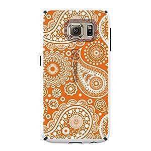 CUSTOM White Speck CandyShell Case for Samsung Galaxy S6 - Orange White Paisley