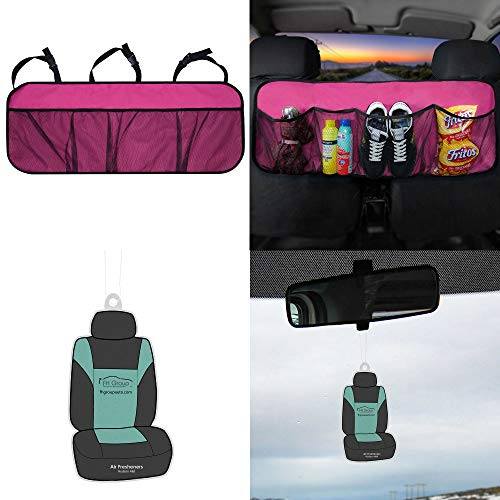 FH Group FH1122 Multi-Pocket Trunk Organizer- Great for Storage, Pink Color w. Free Air Freshener- Fit Most Car, Truck, SUV, or Van - Cube Organizer Trunk