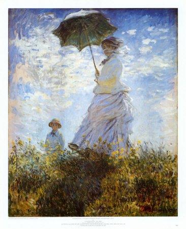 Amazon De Kunstdruck Der Spaziergang Frau Mit Sonnenschirm Von