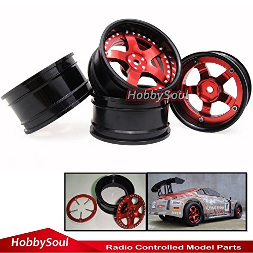 hobbysoul 4pcs 1//10 Alloy RC Drift On-Road Wheel Rim Adjustable Offset for Kyosho HPI HSP ()