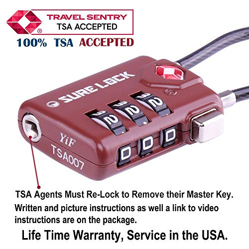 TSA Compatible Travel Luggage Locks, Inspection Indicator, Easy Read Dials  - 1, 2 & 4 Pack (Large, BROWN 4 PACK)