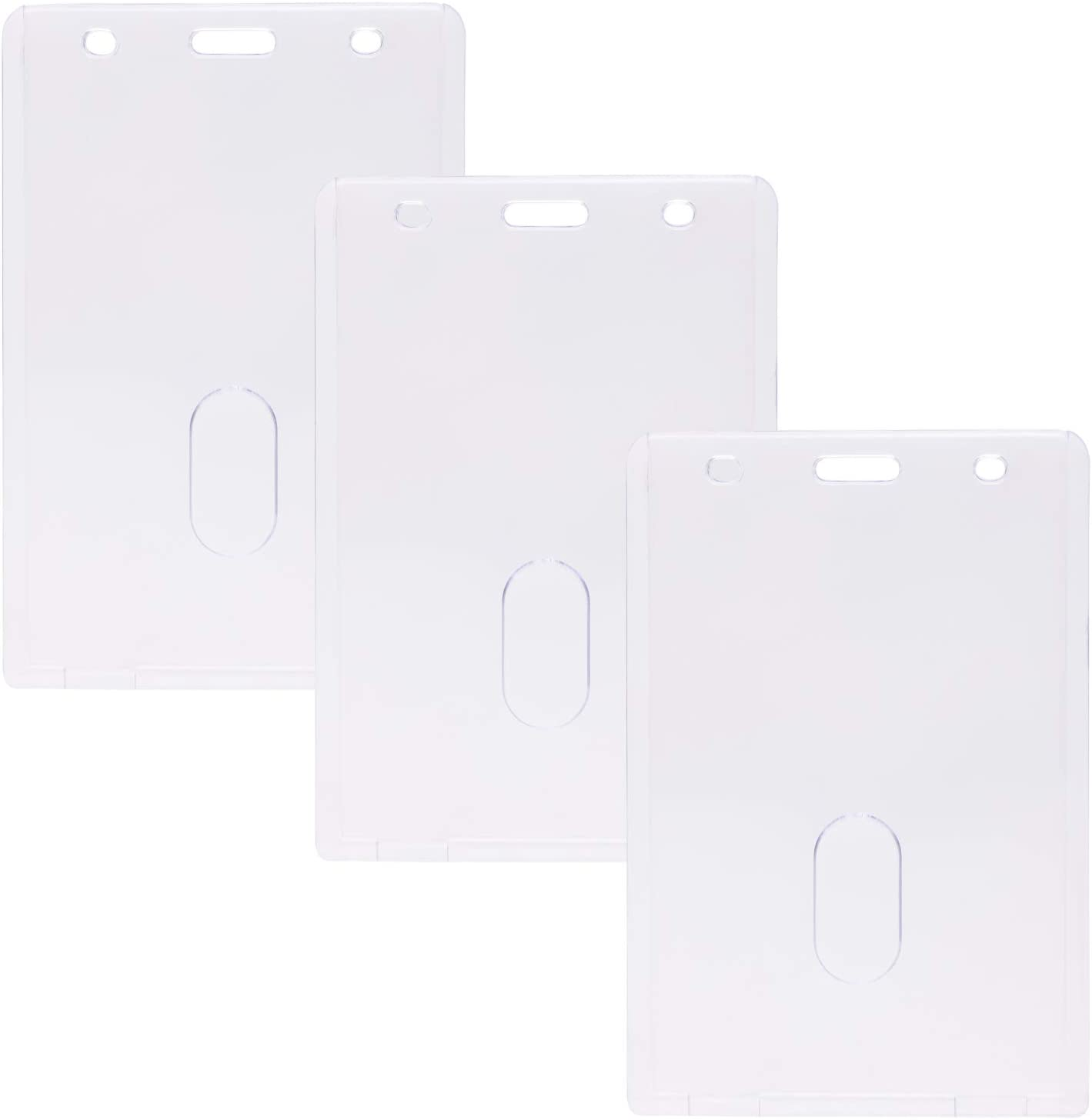 ONLYKXY Heavy Duty Hard Plastic Large ID Badge Holder Work Card Clear Holder (Vertical Style 74 x 105 mm)