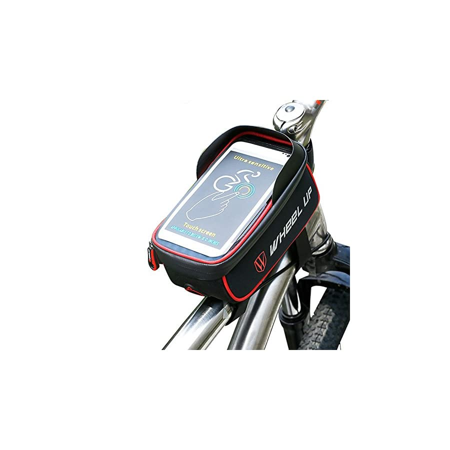 """THREEMAO Waterproof Bike Top Tube Bag Cycling Front Frame Bag Mobile Phone Holder ≤ 6"""" Screen with Water Resistant Zipper"""