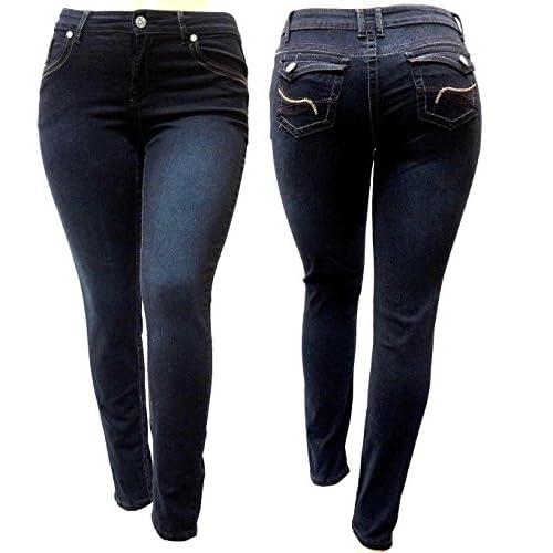 ffd6c2f992f on sale Davido-26 Premium Womens Plus Size Stretch Skinny Fit Black Denim  Jeans Pants