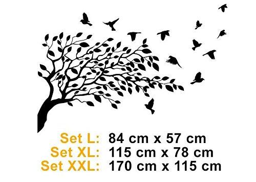 Premiumsticker24 Wandtattoo Baum mit mit mit Vögel   Schlafzimmer Wohnzimmer Kinderzimmer Aufkleber selbstklebend Wandaufkleber, 170cm x 115cm, 070 schwarz B07BKTBN77 Wandtattoos & Wandbilder aed96f