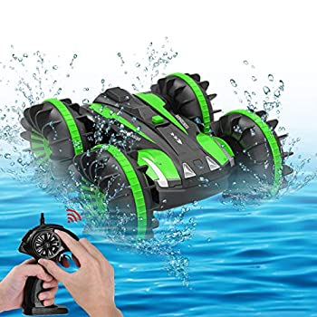 Seckton Toys for 5-10 Yr Previous Boys Amphibious RC Automotive for Youngsters 2.4 GHz Distant Management Boat Waterproof RC Monster Truck Stunt Automotive 4WD Distant Management Automobile Ladies Items All Terrain Water Seashore Pool Toy