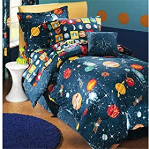 Amazon Com Glow In The Dark Planets Outer Space Comforter