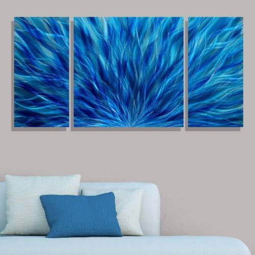 Hand Painted Metal Art (Blue Modern Abstract Metal Wall Art - Hand Painted Contemporary Wall Sculpture - Cascading Waters III by Jon Allen)