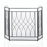 Accent Plus Rustic Fireplace Screen, Three Panel Iron Mesh Fire Screen For Fireplace
