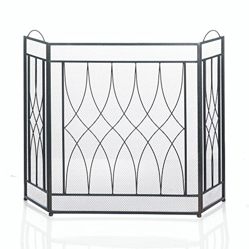 Accent Plus Rustic Fireplace Screen, Three Panel Iron Mesh Fire Screen For Fireplace by Accent Plus