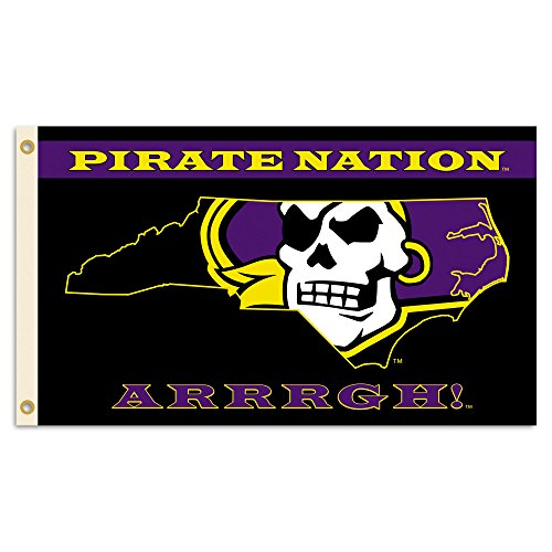 NCAA East Carolina Pirates 3 x 5-Feet Flag with Grommets, Team Color, One Size by BSI