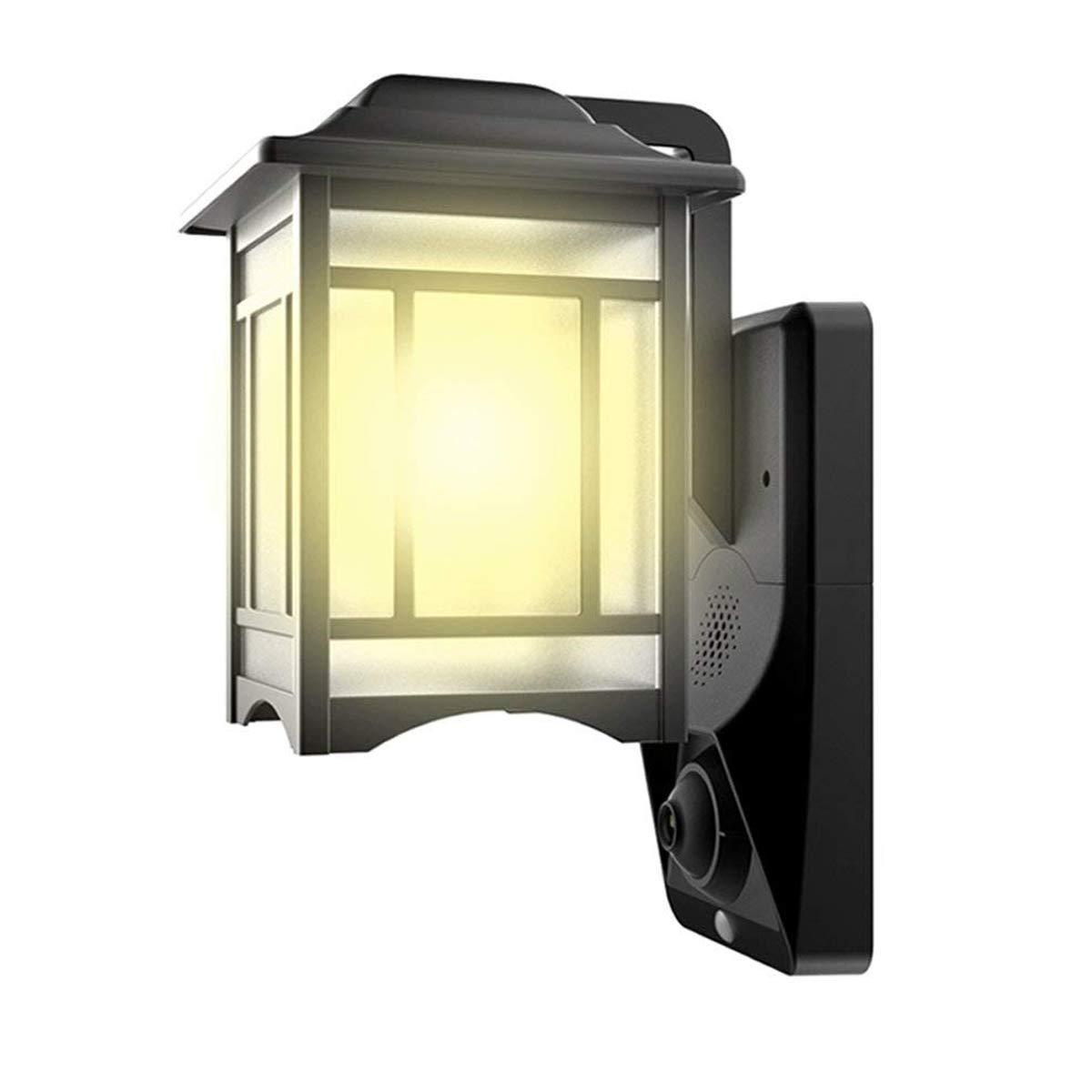 HOMSCAM Lampada da Parete per Esterno Impermeabile lampada esterno con sensore di movimento lanterna a muro con rivelatore di movimento illuminazione da esterno per giardino luci di sicurezza videocamera esterna 1080p con PIR Per giardino, vialetto, cortil