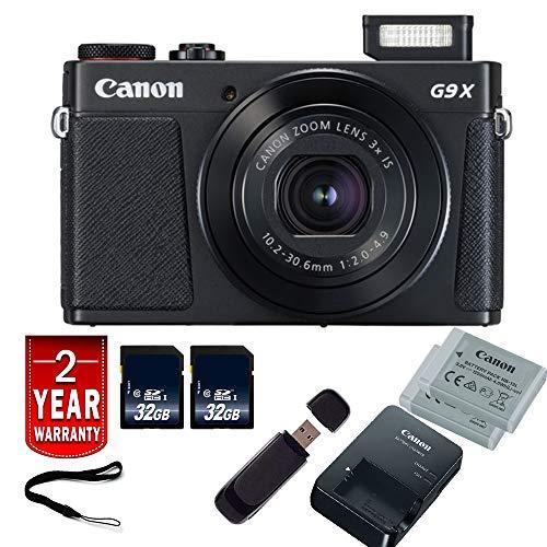Canon PowerShot G9 X Mark II Digital Camera (Black) International Model Starter Bundle Canon Powershot G2 Memory
