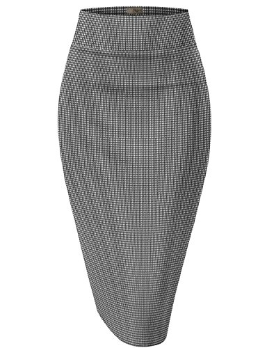 HyBrid & Company Womens Pencil Skirt for Office Wear KSK43584X 10690 Black/IVOR 1X by HyBrid & Company