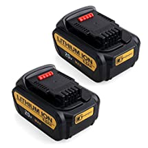 DCB205-2 FLAGPOWER 2 Packs Replacement 4.0Ah Cordless Tools Li-ion Battery for Dewalt 18V/20V Max Premium XR Battery Pack DCB205 DCB200 DCB204 DCD980M2 DCK290L2(Compatible With 20V)