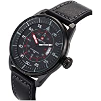 PASOY Men's Military Aviator Watch Black Dial Leather Strap Date Waterproof Quartz Analog Watches 44MM