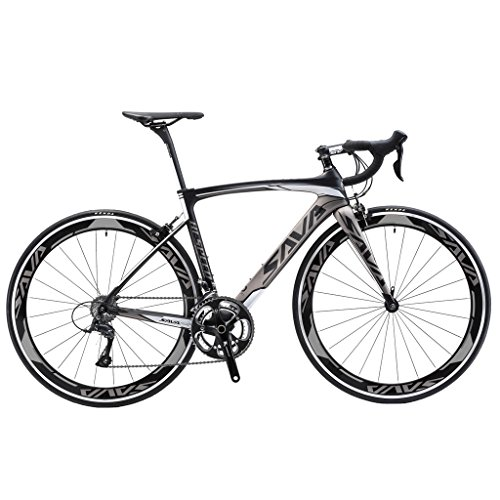 SAVADECK T700 Carbon Fiber 700C Road Bike with Shimano 3000 18 Speed Derailleur System and Double V Brake (Grey,50cm)