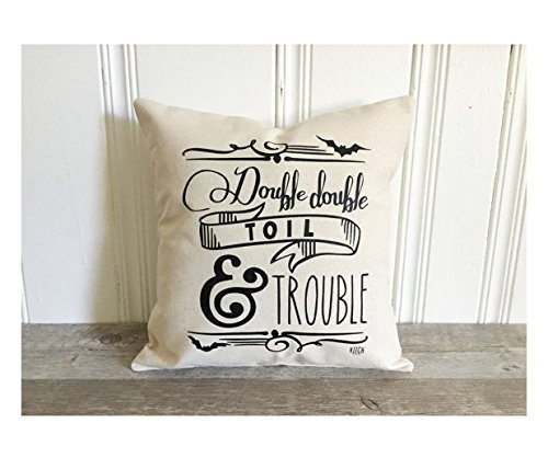 Halloween Pillow Cover Double Double Toil And Trouble Pillow Case Fall Pillow Cover Autumn Pillowcase Rustic Farmhouse Decor Halloween Throw Pillow Cover