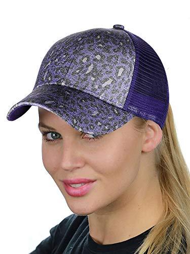 Lavender Leopard - C.C Ponycap Messy High Bun Ponytail Adjustable Glitter Mesh Trucker Baseball Cap, Leopard Lavender/Purple