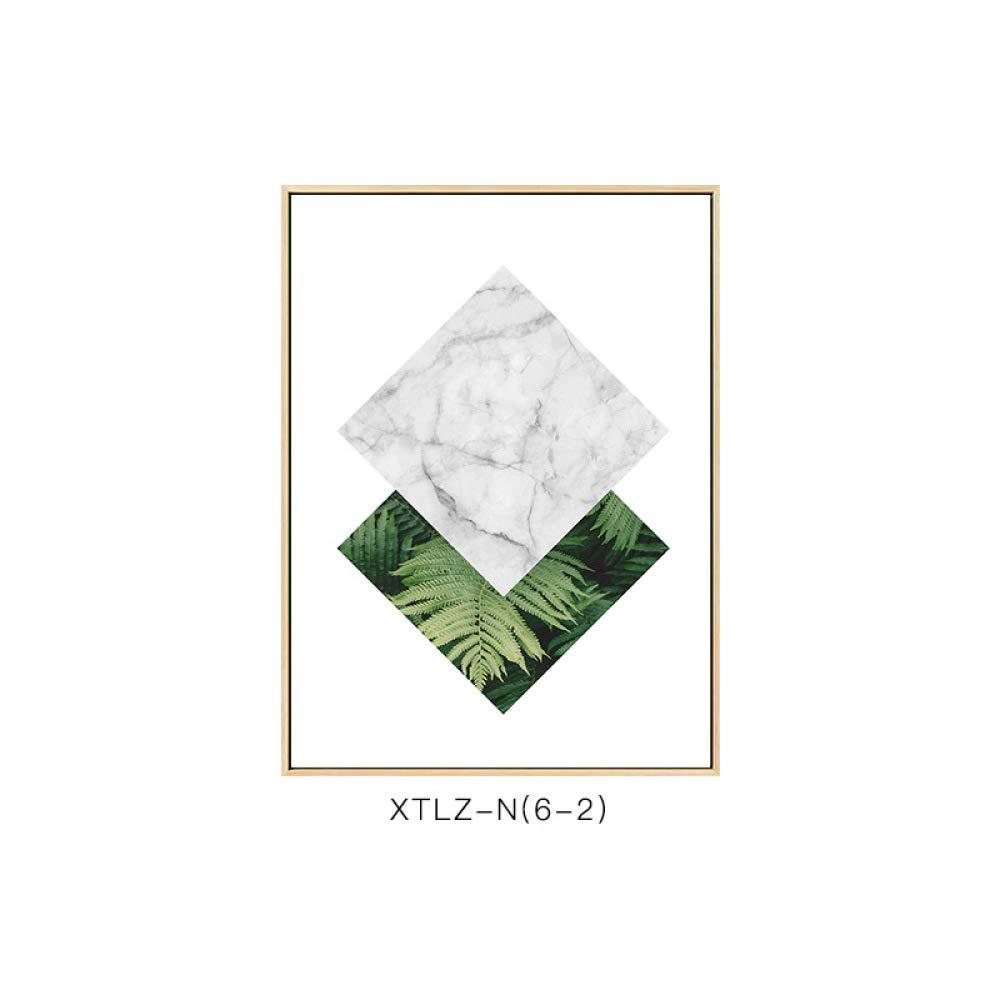 DEED Plantas Verdes Frescas, Pinturas Modernas, Pinturas Decorativas botánicas Simples, Estilo Exquisito, Pintura Decorativa del Dormitorio de la Sala de Estar casera,A,60  80