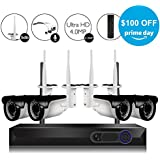 CAMVIEW 4CH 2592x1520P Wireless Security CCTV Surveillance System WiFi NVR Kits, 4 x 4.0MP Wireless Indoor/Outdoor IP Cameras, Microphone Plug, Night Vision, Ultra HD, HDD not Including