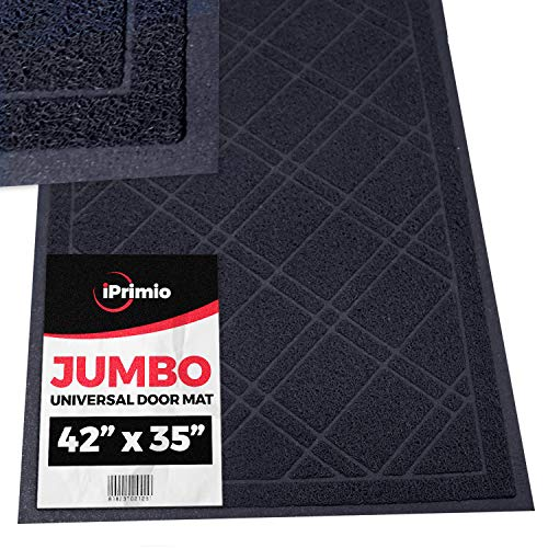 Black Rug Rain (SlipToGrip Jumbo Door Mat Indoor / Outdoor 42