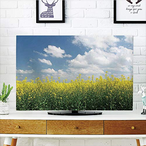 Saxony Series - iPrint LCD TV dust Cover Customizable,Country Home,Blooming Rapeseed Field and Clear Sky Clouds Saxony Germany Rustic Eco,Yellow Green Blue,Graph Customization Design Compatible 60