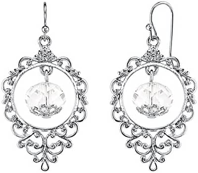 Silver-Tone Crystal Caged Drop Earrings