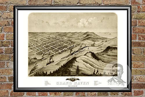 Ted's Vintage Art Grand Haven Michigan 1868 Map Wall Art Print | Museum Quality Matte Paper | Ideal for Home & Kitchen Decor | Digitally Restored Historic Lithograph Poster 18