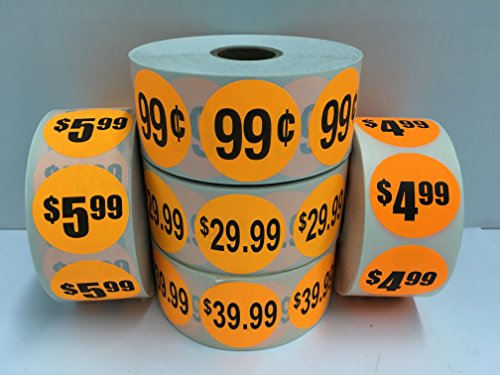"1000 Labels 1.5"" Round Orange 99 CENTS Price Point of Sale Pricing Inventory Control Retail Stickers 1 Roll"