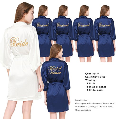 PROGULOVER Set Of 6 Women's Satin Kimono Robe For Bride Bridesmaid With Gold Glitter Wedding Party Maid Of Honor Robes by PROGULOVER