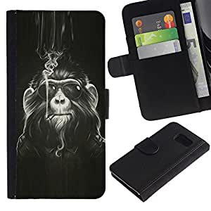 KingStore / Leather Etui en cuir / Samsung Galaxy S6 / Mono Peludo Smoke Art Sunglasses Ape Pintura