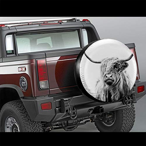 Portrait of a highland cow Universal Spare Wheel Tire Cover Fit for Truck Camper Van,Jeep,Trailer, RV, SUV Trailer Accessories15(diameter 27-29