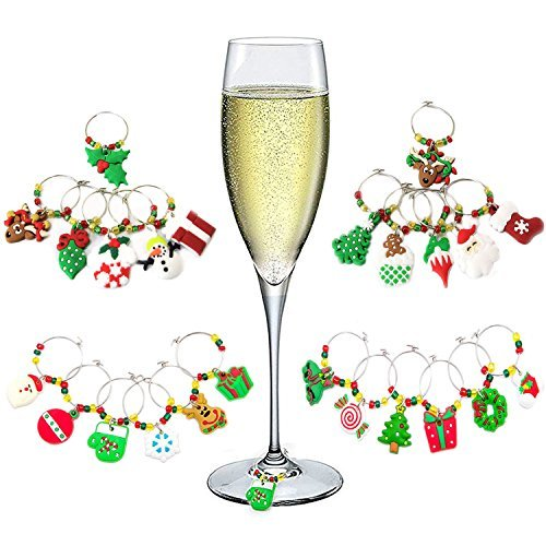 Hraindrop 24-Pieces Wine Glass Charms - Christmas Themed Wine Glass Markers, Wine Glass Tags, Drink Markers, Wine Favors, Assorted ()