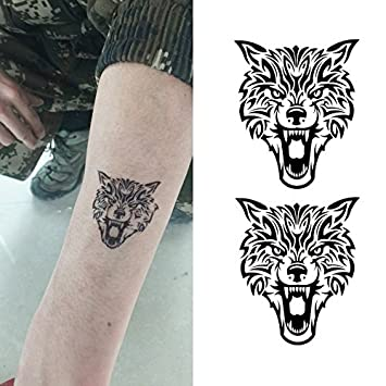 Oottati Pequeño Lindo Tatuaje Temporal Tótem Lobo (2 Hojas ...