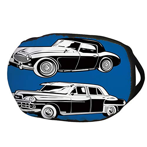 Fashion Cotton Antidust Face Mouth Mask,Cars,Black and White Vintage Cars on Navy Blue Backdrop Classic Old Vehicles Decorative,Navy Blue Black White,for women & men