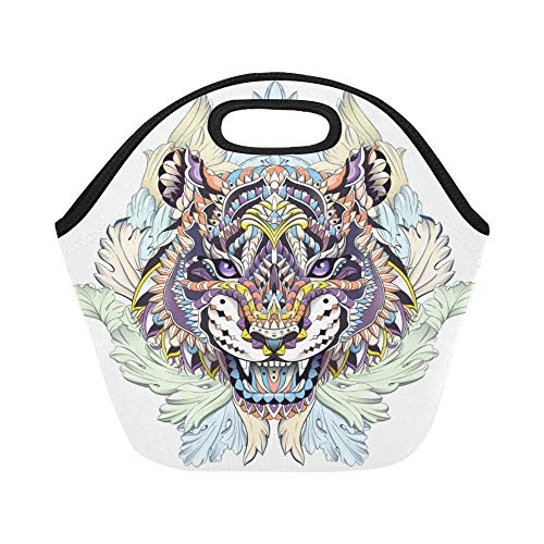 - Insulated Neoprene Lunch Bag Ed Head Roaring Tiger On Large Size Reusable Thermal Thick Lunch Tote Bags Lunch Boxes For Outdoor Work Office School