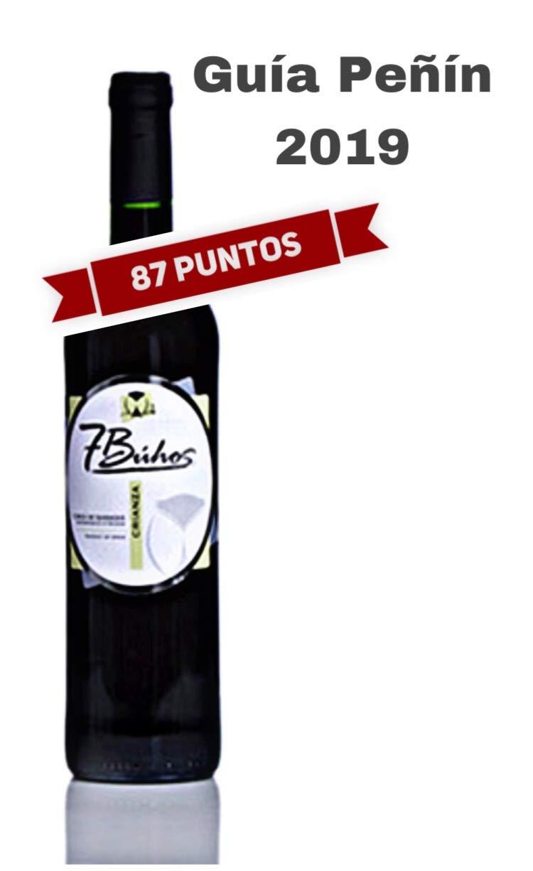 Vino Tinto Crianza -7 Búhos - Vino tinto aterciopelado y complejo - 1 Botella de 750 ml - Uvas cabernet sauvignon, merlot y tempranillo - 13% VOL - D.O. ...