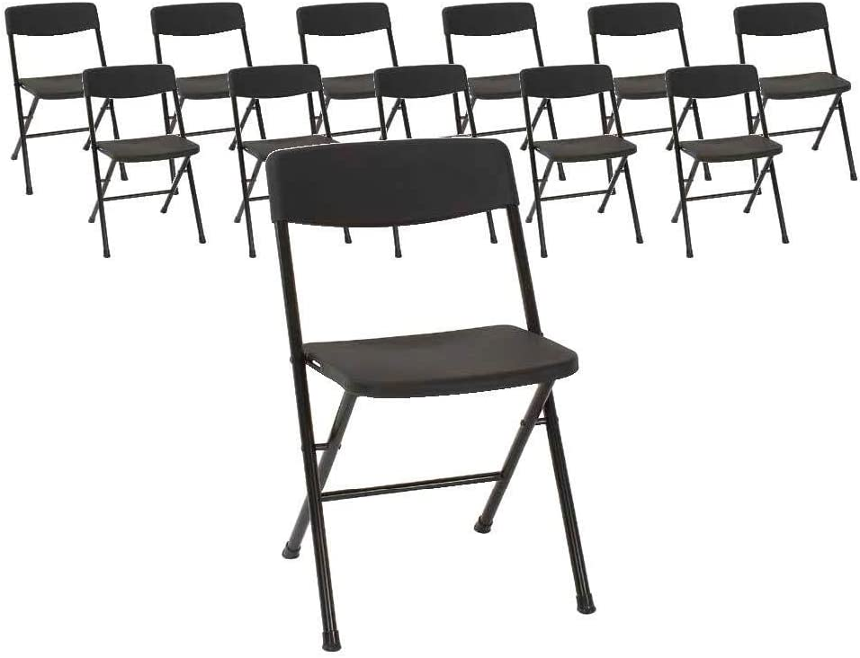 COSCO Resin Molded Seat and Back Black Folding Chair, 12 Pack