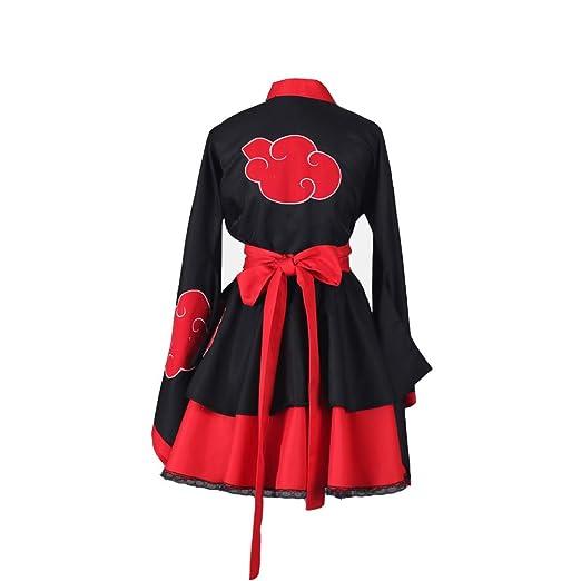 Classical City Naruto Shippuden Akatsuki Organization Female Lolita Kimono Dress Anime Cosplay Costume 3 Pcs