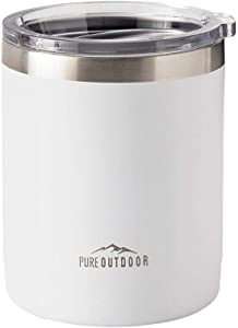 Monoprice Lowball Tumbler - 10 fl. oz. White, BPA-Free, Sweatproof, 2X Wall Vacuum Insulated - Pure Outdoor Collection