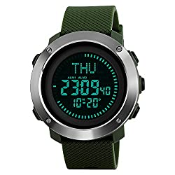 Multifunction Compass Sport Watches, Farsler World Time 50M Waterproof Big dial Luminous Men's Sport Watch, Alarm Clock Calendar Outdoor Digital Watch, Sports Electronic Watch For Women (Army Green)