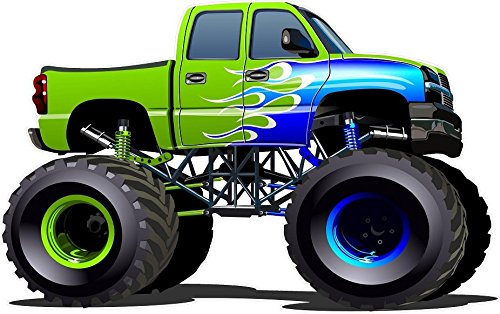 amazon com 12 cartoon monster truck 2 green with flames wall rh amazon com monster trucks cartoon for kids monster trucks cartoon youtube