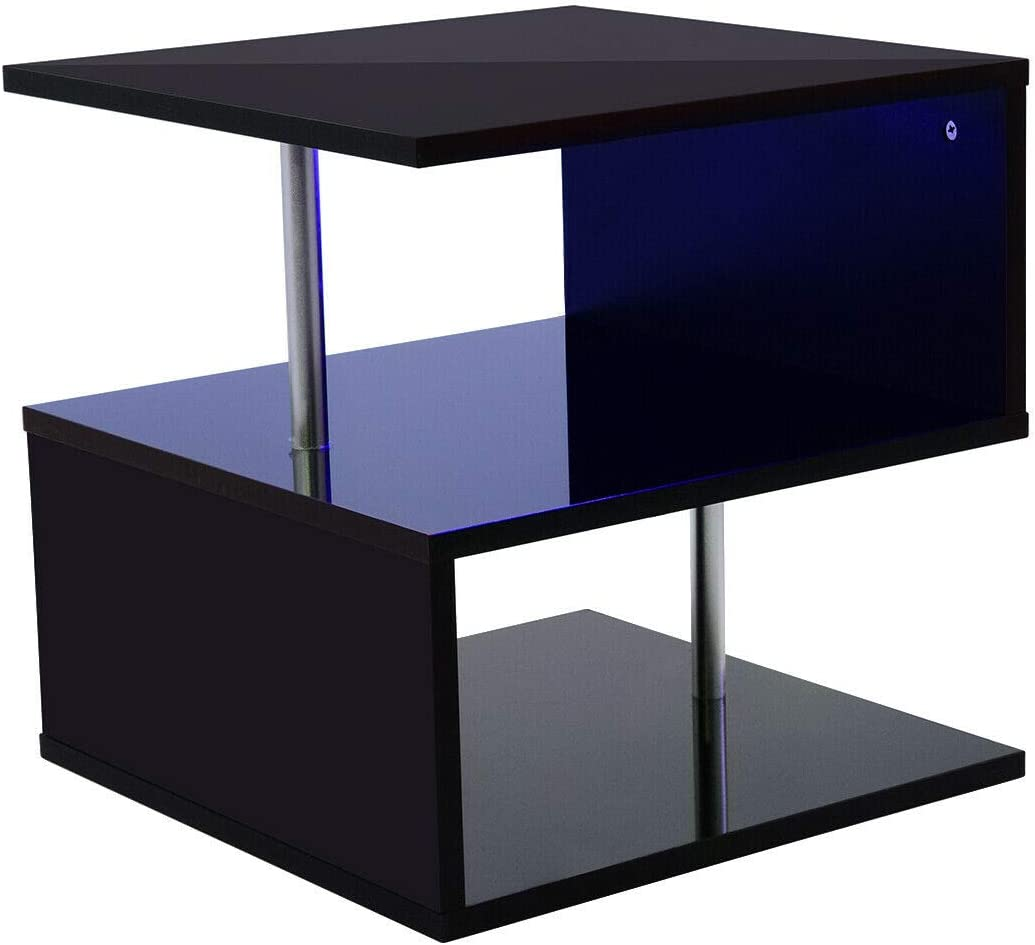 Black Coffee Table End Side Table S Shape Tea Table Modern Breakfast Dining Table Sofa Couch Storage Cube with RGB LED Lights /& UK Plug for Home Living Room Office