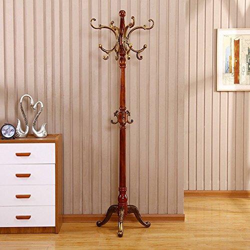 HOMEE European Creative Floor Solid Wood Assembly Vertical Coat Racks Simple Modern Bedroom Living Room with Wood Hangers (Multiple Styles Available),#3 by HOMEE