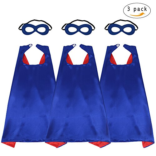 43'' Adults Super Hero Capes Masks Set Blue Red Dual Color-Women Men's Dress Up Party Costumes,3 Pack